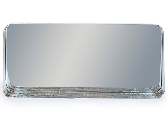 Distressed Silver Landscape Mirror with Shelf