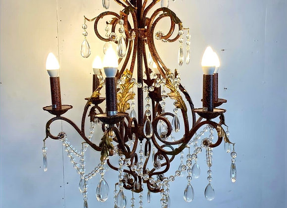 Large Crystal and Iron Chandelier