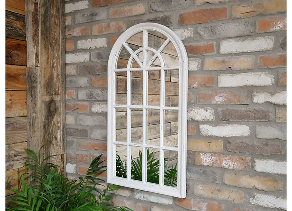Arched Mirror Distressed White Finish Window Shape