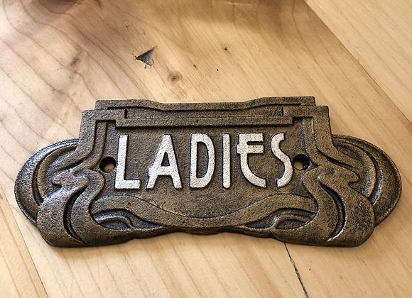Art Nouveau Style Plaque Cast Iron Ladies Sign