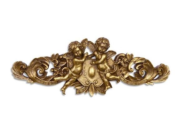 Gold resin cherub wall plaque