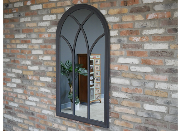 Large Mirror Arched Dark Grey Finish Window Shape
