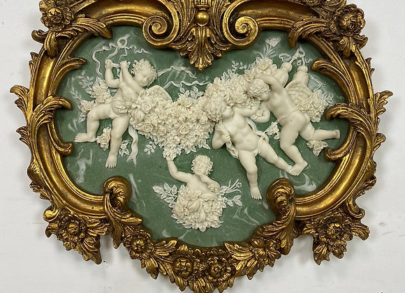Beautiful Carvers and Guilders Gold Framed Cherub Scene Plague