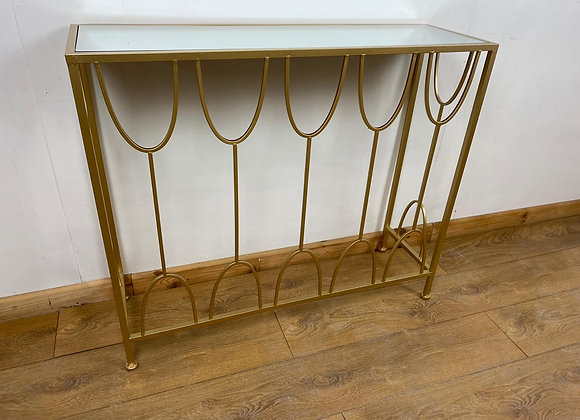Mirrored Top Metal Console Table With Mirrored Top