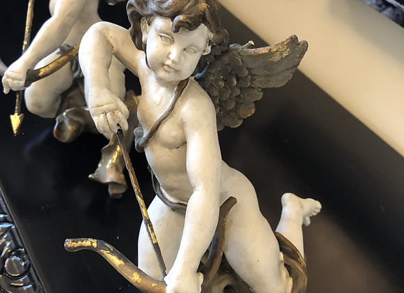 Pair Gold and White Cherubs - Postage Available