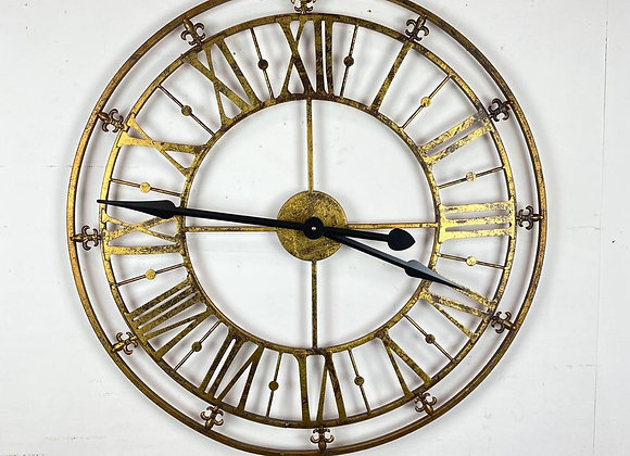 Large Black and Gold Iron Skeleton Wall Clock