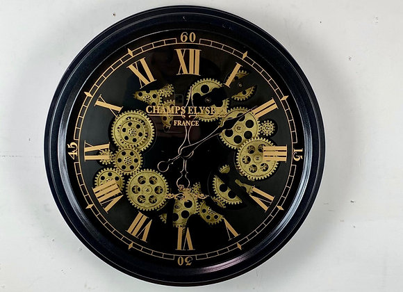 Medium Black and Gold Moving Gears Wall Clock