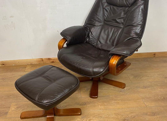 Faux Leather Swivel Recliner Chair with Footstool