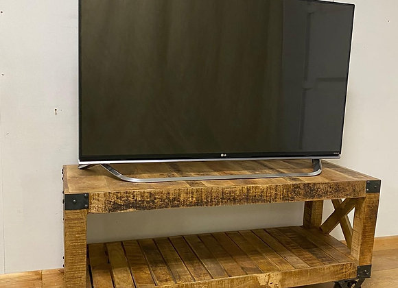 Industrial Style Rustic TV Stand on castors