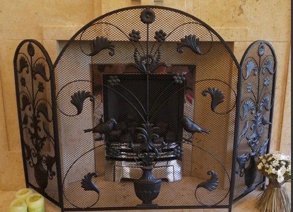 Black Iron Fire Screen 3 Panel Fire Guard Surround Beautiful Ornate Vintage New
