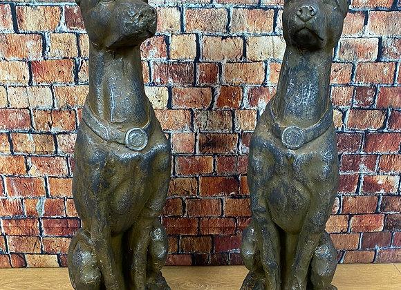 Pair Sitting Greyhound Dogs Garden Statues