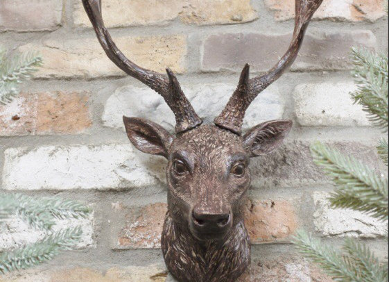 Stag Head 47cm  Wall Mounted Resin Deer With Antlers