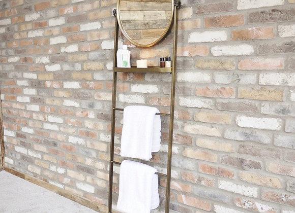 Mirror Towel Shelf Tall Ladder style Antique Gold Metal Towel Rail