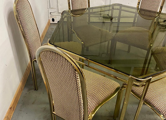 Stylish Italian 1970's Hexagonal Smoked Glass Table and 6 chairs