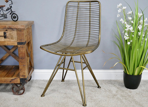 New Industrial Chic Style Desk/ Dining Chair Rustic Gold