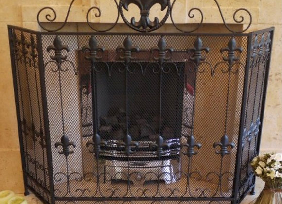 Black Iron Fire Screen 3 Panel Fire Guard Surround