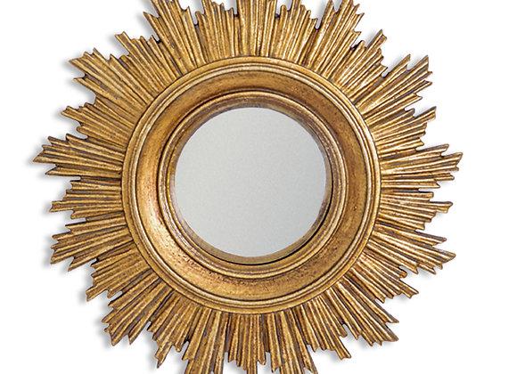 Small Gold Sun Design Convex Mirror - Frame Size 18cm