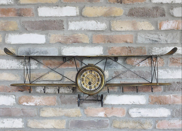 Industrial style Aeroplane clock with floating shelf and hooks