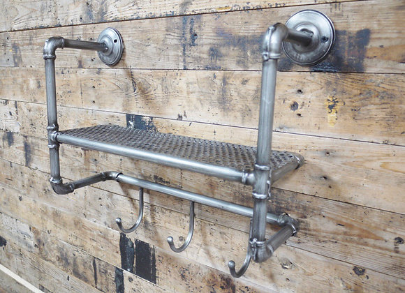 Industrial Vintage style metal pipework shelf with hooks