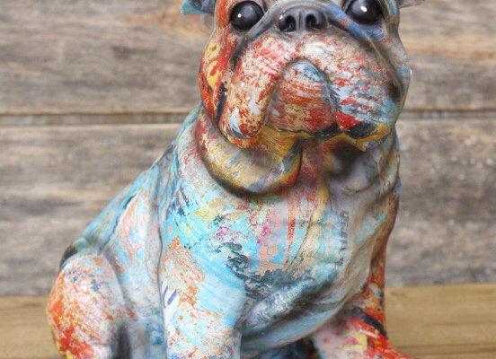 Graffiti Bulldog Ornament Paint Splash Effect Home Decoration