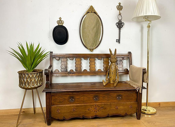 Antique french inlaid oak monks bench
