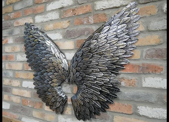 Large Metal Angel Wings Wall Art   Silver