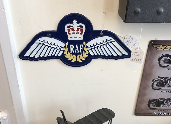 RAF Wings Sign Large Repro Royal Airforce Plaque Cast Iron Sign 35cm