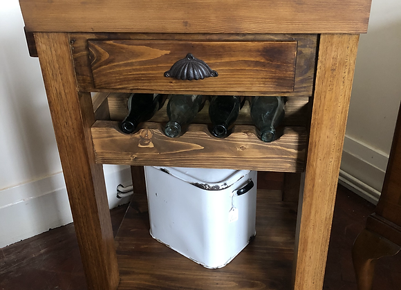 Solid Wood Unit With Drawer And Bottle Holder