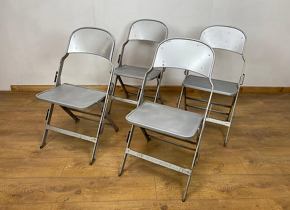 Set of 4 Vintage Metal Event Folding Chairs