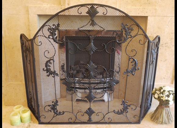 Black Iron Fire Screen 3 Panel Fire Guard Surround Beautiful Ornate Vint