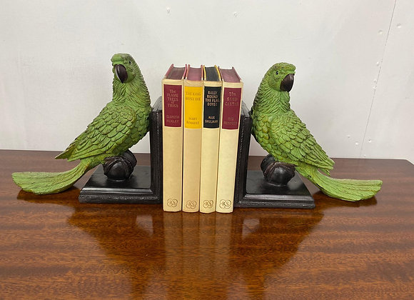 Large Pair Green Parrot Bookends