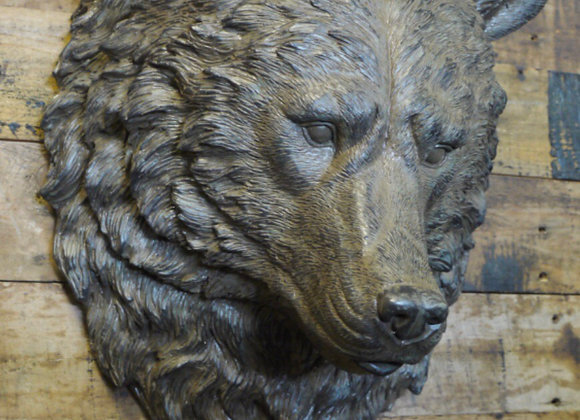 Large Brown Resin Wall Mounted Sculpture Bear Head