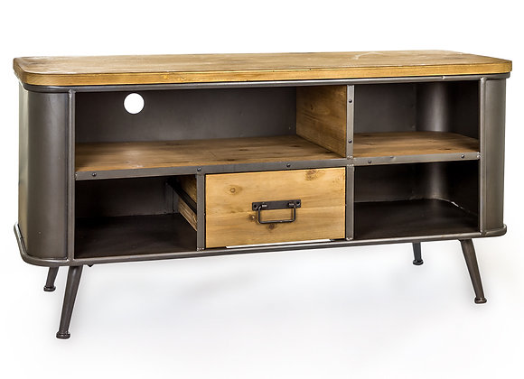 Rounded Edge Metal And Wood Media Unit