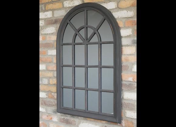 Large Mirror Arched Window Shape Dark Grey Finish