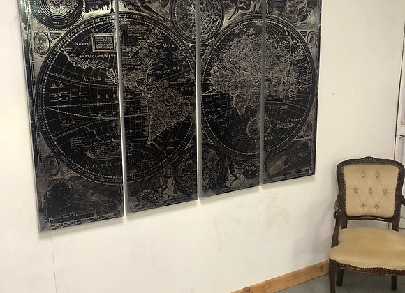 Huge Set of 4 -World Map-Black and Silver