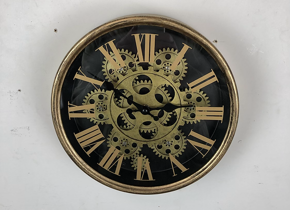 Black and Gold small Moving Gears Wall Clock