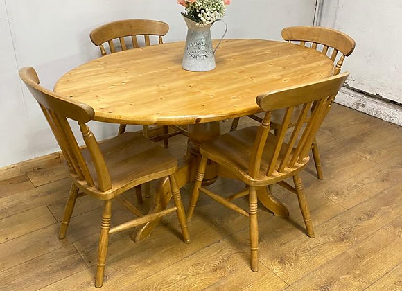 Oval Solid Pine Table and 4 Chairs