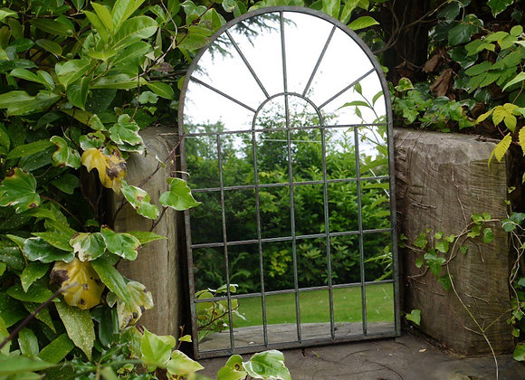 Arched Rustic Window Shaped Mirror Outdoors or Indoor Height 77cm