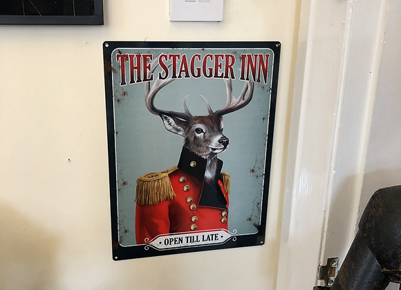 Large Metal Sign The Stagger Inn 30cm x 40cm
