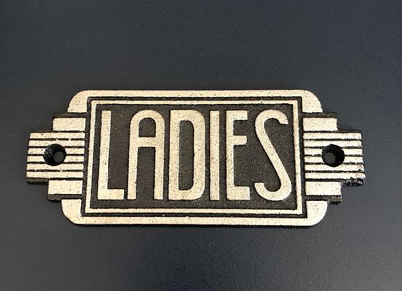 Art Deco Style Plaque Cast Iron Ladies Sign