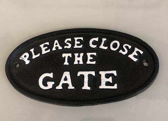 """Plaque Cast Iron """"Please Close The Gate"""" Sign"""
