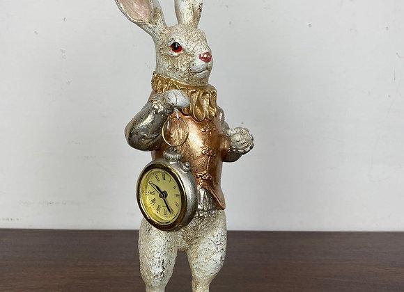 White Rabbit Standing Clock Figure