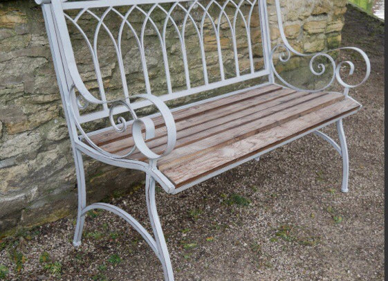 Beautiful Metal Garden Bench Wooden Seat