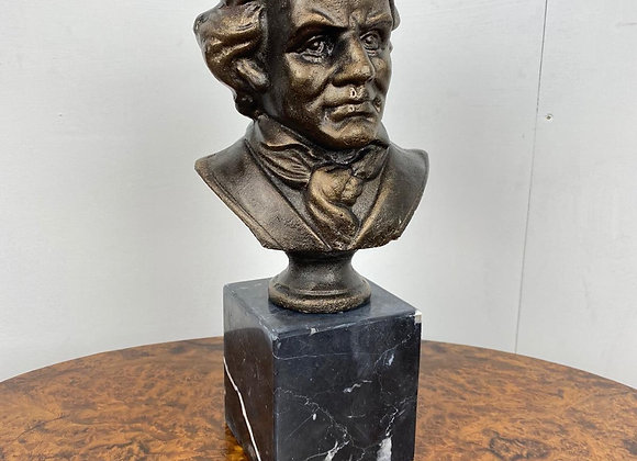 Cast Iron Bust of Beethoven on Marble Base - Postage Available