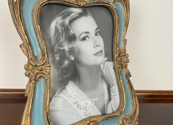 Antique Style Gold / Blue Photo Frame