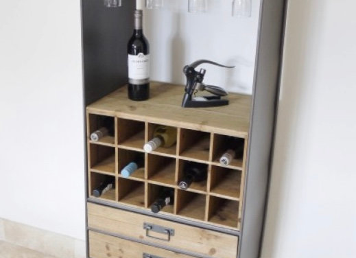 Industrial style metal and wood bar unit / drinks cabinet