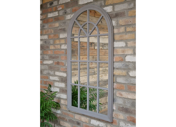 Large Indoor Arched Grey Window Shaped Mirror