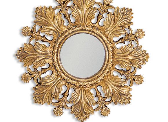 Small Gold Sun Design Convex Mirror - Frame Size 20cm