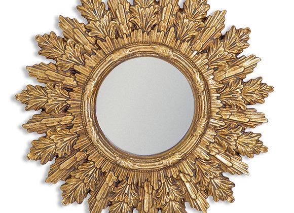 Small Gold Sun Design Mirror - Frame Size 22cm
