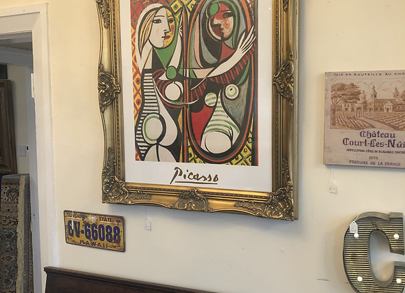 Large Gilt Framed Print Picasso- Girl before a mirror